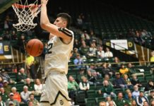 Nico Carvacho dunks on Arkansas Pine Bluff. Credit: CSU Athletics Communications.