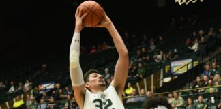 Nico Carvacho goes up for a dunk. Credit: CSU Athletics Communications.