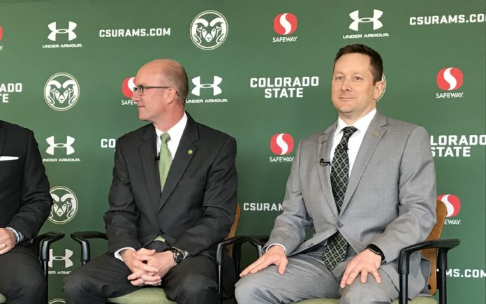 Niko Medved at his introductory press conference with AD Joe Parker. Credit: Rich Kurtzman
