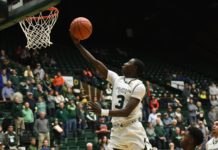 Kendle Moore flies to the hoop and out-runs everyone for an easy bucket. Credit: CSU Athletics Communications.