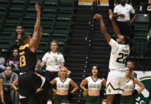J.D. Paige shoots a 3 from the corner against Arkansas Pine Bluff. Credit: CSU Athletics Communications.
