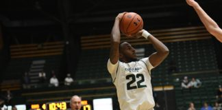 J.D. Paige shoots. Credit: CSU Athletics Communications.