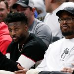 Von Miller and Emmanuel Sanders at a Nuggets game. Credit: Isaiah J. Downing, USA TODAY Sports.