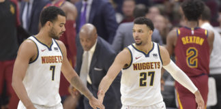 Denver Nuggets forward Trey Lyles (7) and guard Jamal Murray (27) celebrate in the second quarter against the Cleveland Cavaliers at Quicken Loans Arena.