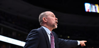 Denver Nuggets head coach Michael Malone coaches in the first quarter Utah Jazz at the Pepsi Center.