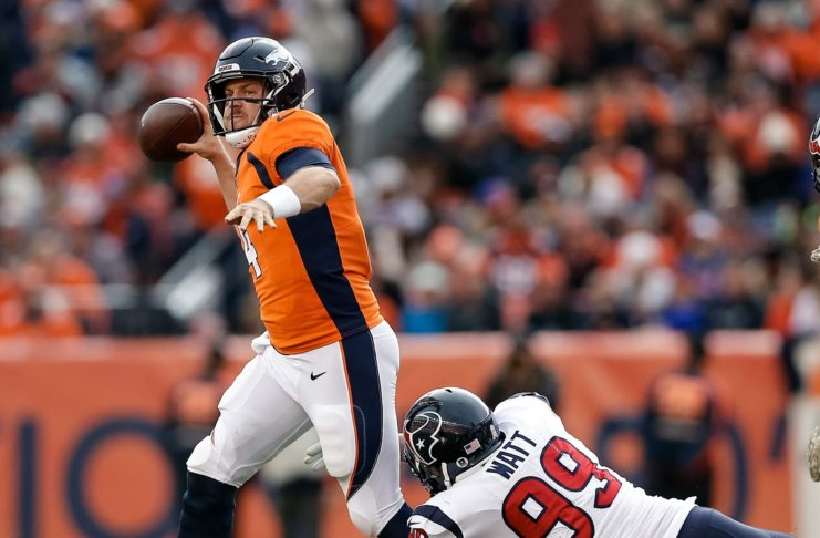 Case Keenum throws off balance. Credit: Isaiah J. Downing, USA TODAY Sports.
