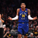 Denver Nuggets guard Gary Harris (14) reacts to consecutive fouls called on him during the second half against the Brooklyn Nets at the Pepsi Center