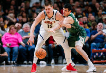 Milwaukee Bucks forward Ersan Ilyasova (77) defends against Denver Nuggets center Nikola Jokic (15) in the second quarter at the Pepsi Center.