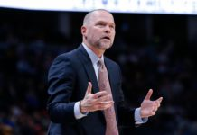 Denver Nuggets head coach Michael Malone reacts in the second quarter against the Houston Rockets at the Pepsi Center.