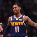 Denver Nuggets guard Monte Morris (11) reacts after scoring in the second half against the Atlanta Hawks at the Pepsi Center.
