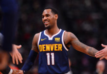Nov 15, 2018; Denver, CO, USA; Denver Nuggets guard Monte Morris (11) reacts after scoring in the second half against the Atlanta Hawks at the Pepsi Center. Mandatory Credit: Ron Chenoy-USA TODAY Sports
