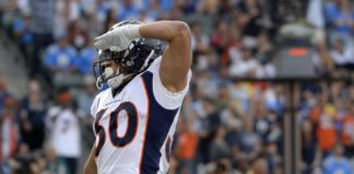 Phillip Lindsay salute. Credit: Jake Roth, USA TODAY Sports.
