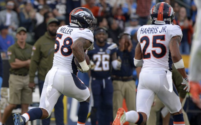 Von Miller on his interception return. Credit: Jake Roth, USA TODAY Sports.
