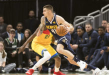 Denver Nuggets forward Juan Hernangomez (41) drives for the basket during the second quarter against the Milwaukee Bucks at Wisconsin Entertainment and Sports Center.