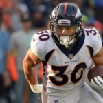 Phillip Lindsay runs. Credit: Jake Roth, USA TODAY Sports.