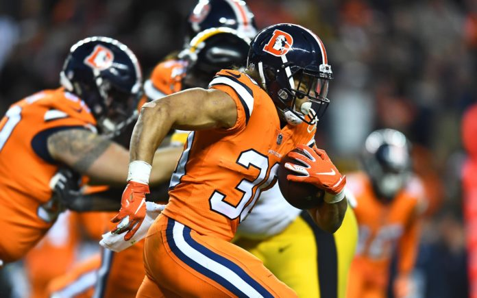 Phillip Lindsay runs against Pittsburgh. Credit: Ron Chenoy, USA TODAY Sports.