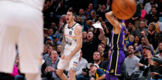 Denver Nuggets forward Juancho Hernangomez (41) reacts in the second quarter after receiving a foul from Los Angeles Lakers guard Josh Hart (3) at the Pepsi Center.