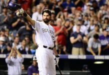 Todd Helton in his final game. Credit: USA TODAY Sports.