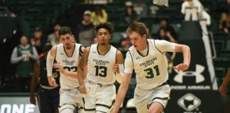 Adam Thistlewood, Doobie Jenkins and Nico Carvacho on the break. Credit: CSU Athletics Communications.