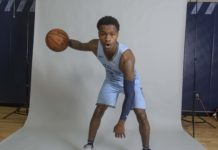 Memphis Grizzlies gaurd Brandon Goodwin (2) poses during media at FedEx Forum.