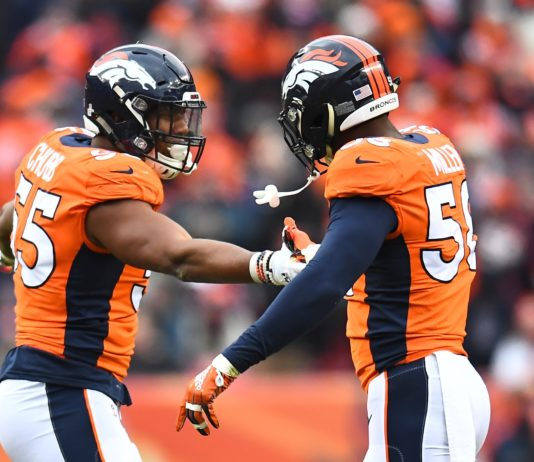 Bradley Chubb and Von Miller. Credit: Ron Chenoy, USA TODAY Sports.