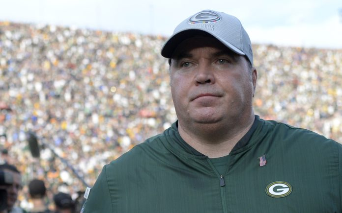 Mike McCarthy. Credit: Jake Roth, USA TODAY Sports.