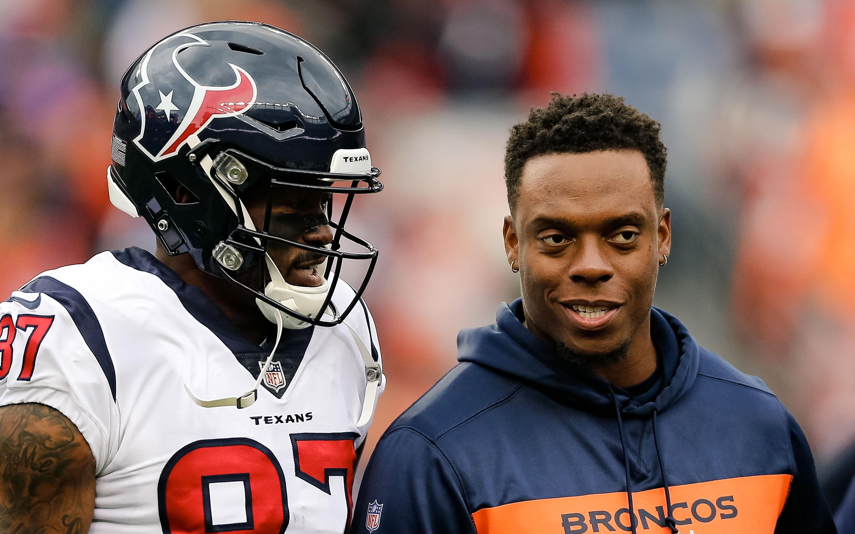 Brandon Marshall with Demaryius Thomas. Credit: Isaiah J. Downing, USA TODAY Sports.
