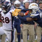 Royce Freeman runs with power against the Chargers. Credit: Jake Roth, USA TODAY Sports.