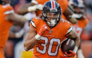 Phillip Lindsay runs against the Steelers. Credit: Isaiah J. Downing, USA TODAY Sports.