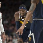 Denver Nuggets forward Paul Millsap (4) smiles after getting called for a foul during the second half against the Portland Trail Blazers at Moda Center. The Nuggets beat the Trail Blazers 113-112.