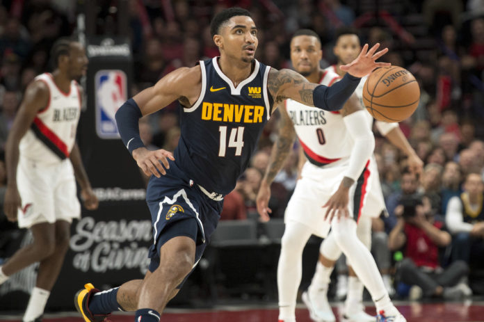 Nov 30, 2018; Portland, OR, USA; Denver Nuggets guard Gary Harris (14) controls a loose ball during the second half against the Portland Trail Blazers at Moda Center. The Nuggets beat the Trail Blazers 113-112. Mandatory Credit: Troy Wayrynen-USA TODAY Sports