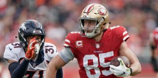 George Kittle on his 85-yard touchdown. Credit: Stan Szeto, USA TODAY Sports.