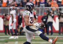 Phillip Lindsay touchdown vs. San Francisco. Credit: Stan Szeto, USA TODAY Sports.