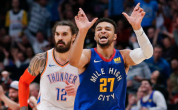 Denver Nuggets guard Jamal Murray (27) reacts after a play in the fourth quarter against the Oklahoma City Thunder at the Pepsi Center.