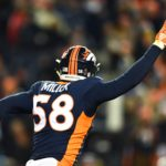 Von Miller after his record-setting sack. Credit: Ron Chenoy, USA TODAY Sports.