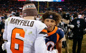 Baker Mayfield and Phillip Lindsay. Credit: Isaiah J. Downing, USA TODAY Sports.