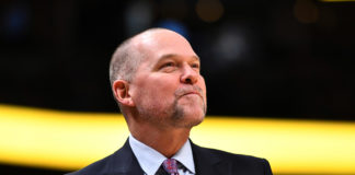 Denver Nuggets head coach Michael Malone before the game against the San Antonio Spurs at Pepsi Center.