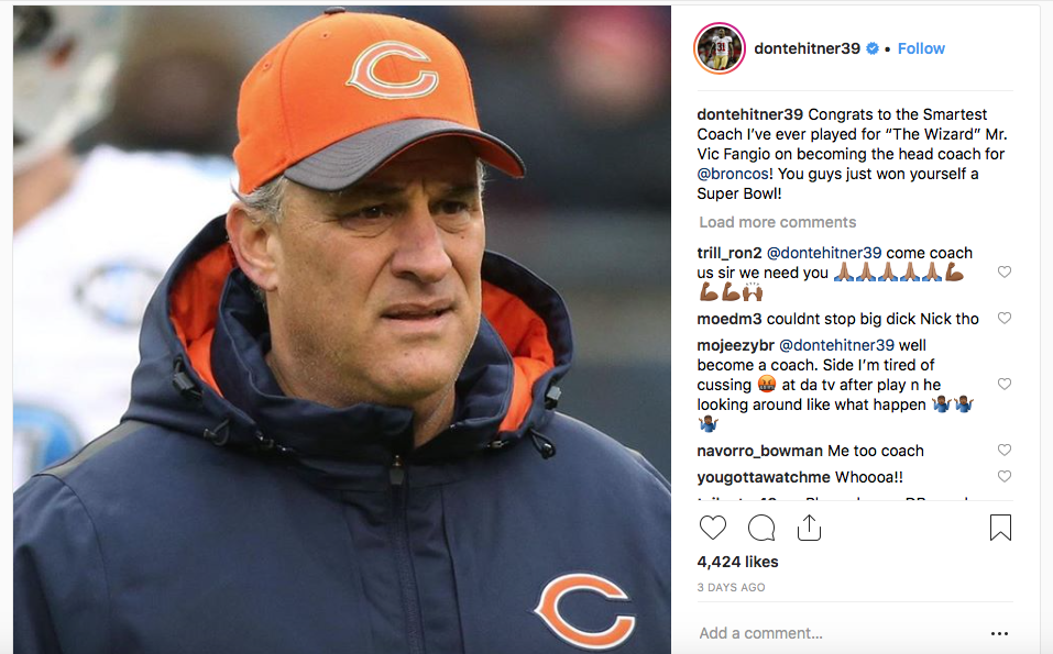 Dontae Whitner's Instagram post about Fangio.