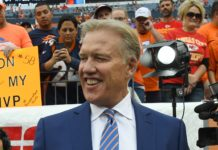John Elway in October. Credit: Ron Chenoy, USA TODAY Sports.