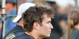 Missouri Tigers quarterback Drew Lock (3) watches play from the sidelines during the second half against the Kentucky Wildcats at Memorial Stadium/Faurot Field. Kentucky won 15-14.