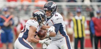 Case Keenum and Phillip Lindsay. Credit: Stan Szeto, USA TODAY Sports.