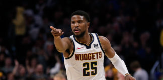 Denver Nuggets guard Malik Beasley (25) reacts after a play in the fourth quarter against the New York Knicks at the Pepsi Center.