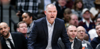 Denver Nuggets head coach Michael Malone reacts in the fourth quarter against the Los Angeles Clippers at the Pepsi Center.