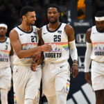 Denver Nuggets guard Malik Beasley (25) and guard Jamal Murray (27) celebrate a score in the second quarter against the Portland Trail Blazers at the Pepsi Center.