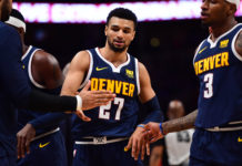 Denver Nuggets guard Jamal Murray (27) reacts after scoring in the second half against the Chicago Bulls at the Pepsi Center.