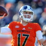 Daniel Jones in the 2019 Senior Bowl. Credit: Chuck Cook, USA TODAY Sports.