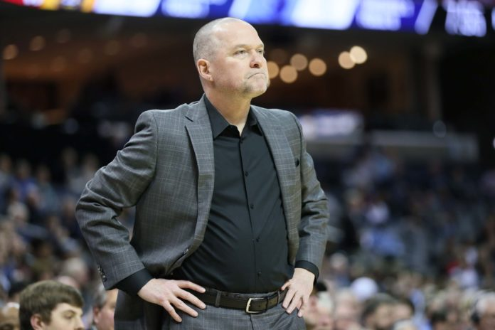 Denver Nuggets head coach Michael Malone looks on in the first quarter against the Memphis Grizzlies at FedExForum.