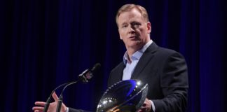 Roger Goodell speaks in Atlanta before the Super Bowl. Credit: Kirby Lee, USA TODAY Sports.