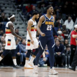 New Orleans, LA, USA; Denver Nuggets guard Malik Beasley (25) reacts after scoring against the New Orleans Pelicans during the second half at the Smoothie King Center.