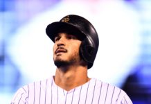 Colorado Rockies third baseman Nolan Arenado (28) during seventh inning against the San Diego Padres at Coors Field.